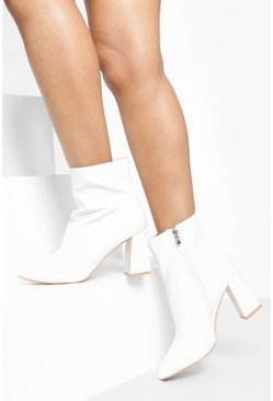 White Croc Block Heel Sock Boots