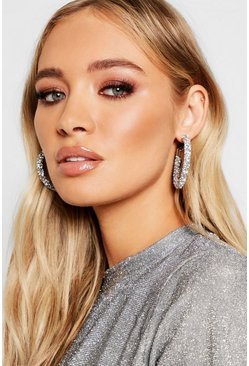 Silver Diamante Cluster Hoop Earrings