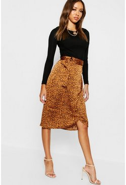 Mustard yellow Leopard Satin Wrap Midi Skirt
