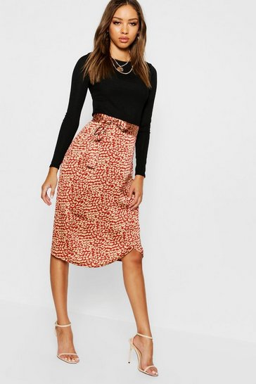 Rust orange Leopard Satin Wrap Midi Skirt