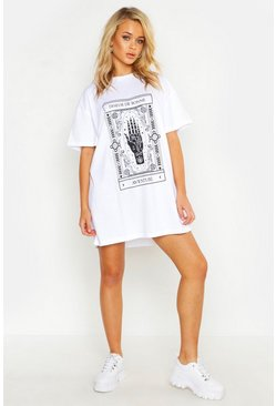 White Mystic Print Oversized T-Shirt Dress