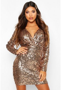 Rose pink Stripe Sequin Long Sleeve Wrap Bodycon Dress