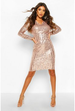 Rose pink Sequin & Mesh Plunge Neck Midi Dress