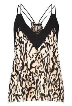 Brown Leopard Contrast Panel Woven Cami