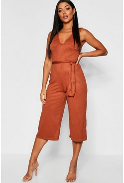 Tan brown Jumbo Ribbed Self Belt Culotte Jumpsuit