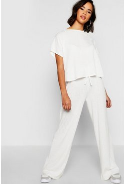 Ecru white Rib Oversized T-Shirt + Wide Leg Co-Ord Set