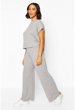 Grey marl grey Rib Oversized T-Shirt + Wide Leg Co-Ord Set
