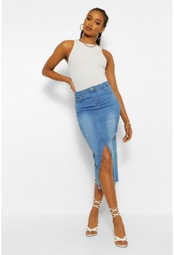 Blue Split Front Stretch Denim Midi Skirt