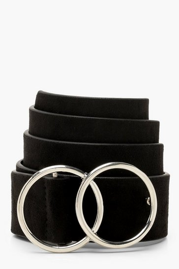 Black Suedette Double Ring Boyfriend Belt