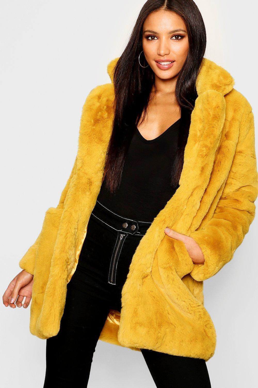 mustard fur coat
