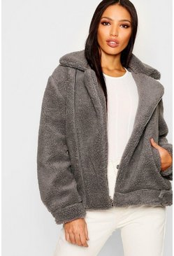 Grey Teddy Faux Fur Aviator