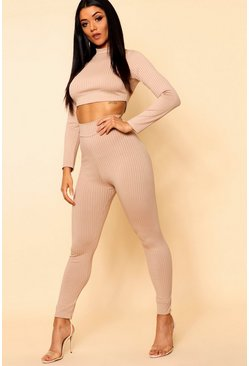 Stone beige Basic Jumbo Ribbed High Waisted Leggings