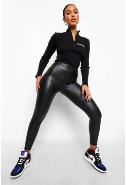 Black Matte Leather Look Stretch Leggings