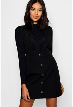 Black Plunge Front Button Pinafore Dress