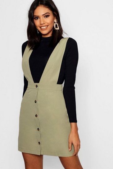 Khaki Plunge Front Button Pinafore Dress