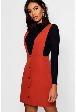Rust orange Plunge Front Button Pinafore Dress