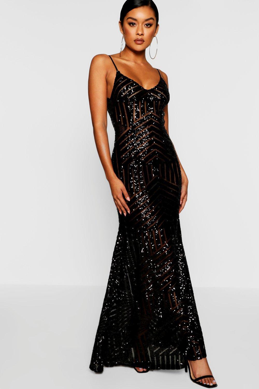 Sequin Dresses Sequin & Mesh Strappy Maxi Dress