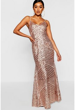Rose pink Sequin & Mesh Strappy Maxi Dress