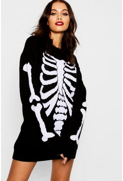 Black svart Halloween Skeleton Knitted Jumper Dress