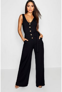 Black Horn Button Ribbed Tie Belt Pocket Jumpsuit