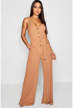 Camel Horn Button Ribbed Tie Belt Pocket Jumpsuit
