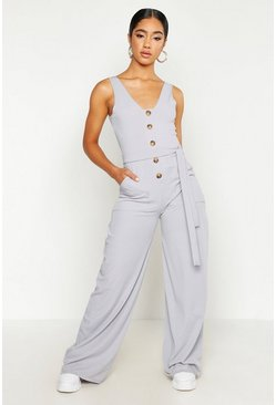 Grey Horn Button Ribbed Tie Belt Pocket Jumpsuit