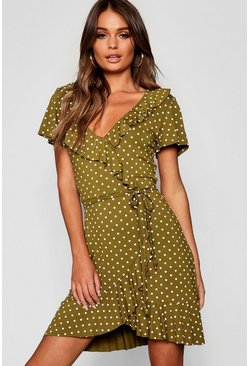 Olive green Polka Dot Wrap Front Ruffle Tea Dress