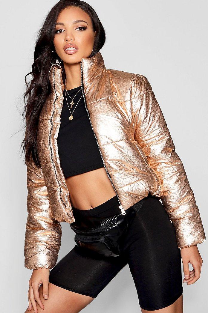 Metallic Crop Puffer Jacket | boohoo SE