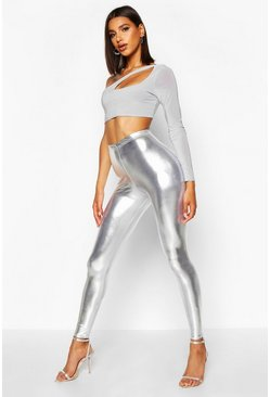 Silver Metallic Wet Look Leggings