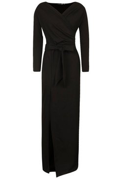 Black Off The Shoulder Split Maxi Bridesmaid Dress