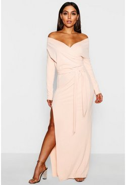 Nude Off The Shoulder Split Maxi Bridesmaid Dress