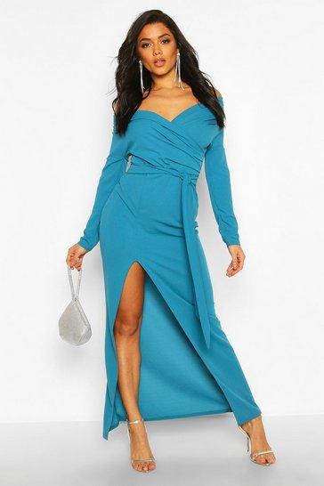 Teal green Off The Shoulder Split Maxi Bridesmaid Dress