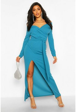 Teal green Off The Shoulder Split Maxi Bridesmaid Dress