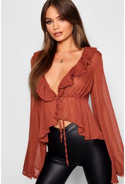 Brick orange Spot Ruffle Plunge Blouse