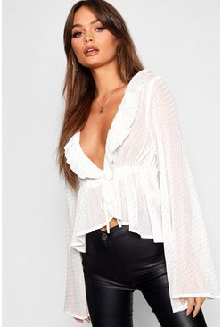Cream white Spot Ruffle Plunge Blouse