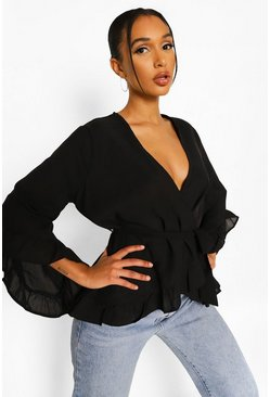 Black Ruffle Hem Wrap Blouse