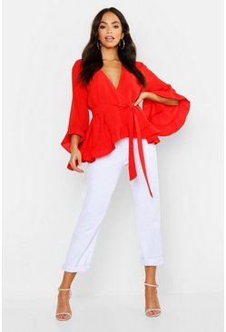 Red Ruffle Hem Wrap Blouse