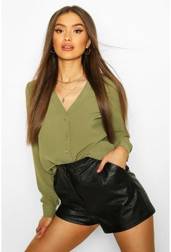 Khaki V Neck Blouse