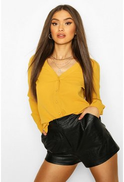 Mustard yellow V Neck Blouse