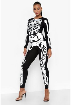 Black Halloween Skeleton Jumpsuit