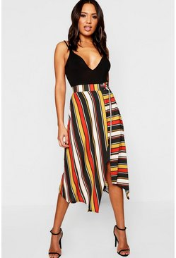 Rust orange Woven Contrast Stripe Midi Skirt
