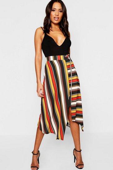 Rust orange Woven Contrast Stripe Midi Skirt