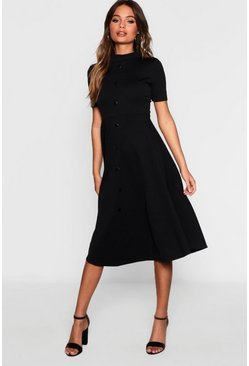 Black Button Through High Neck Midi Skater Dress