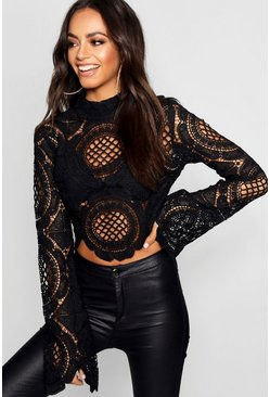 Zwart black Gehaakte Crop Top Met Kant En Turtle Neck