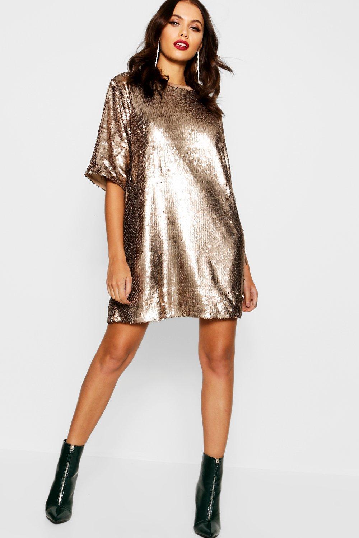 Women's Matte Sequin Oversized T Shirt Dress   Boohoo UK