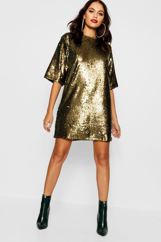 Matte Sequin Oversized T Shirt Dress   boohoo