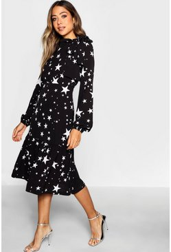 Black Tie Neck Star Print Midi Dress