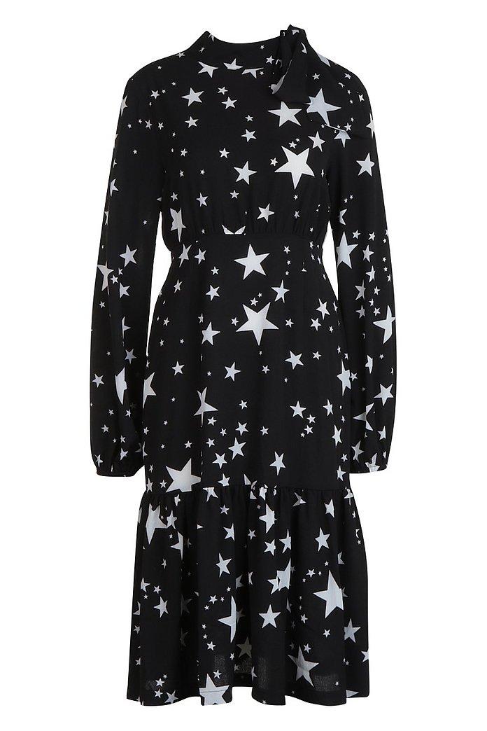 Women S Tie Neck Star Print Midi Dress Boohoo Uk