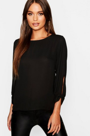 Black Bow Sleeve Woven Blouse