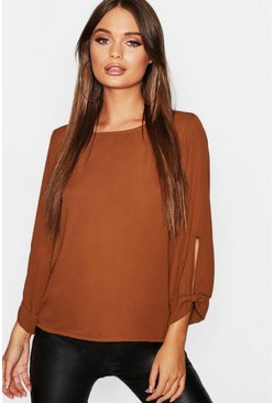 Brick orange Bow Sleeve Woven Blouse